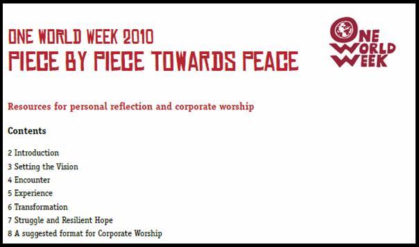 One World Week - Faith Resources